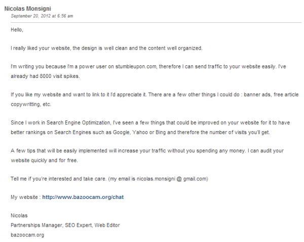 Boulet du SEO - spam anglais