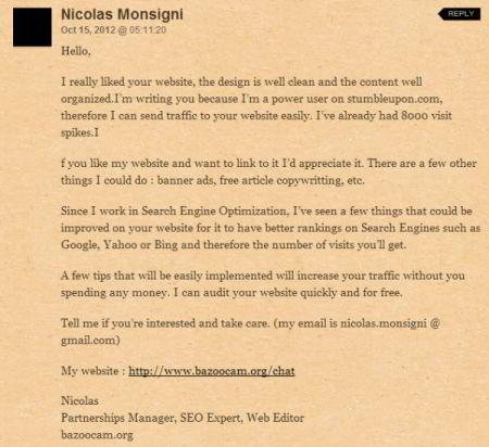 Boulet du SEO - spam anglais 2
