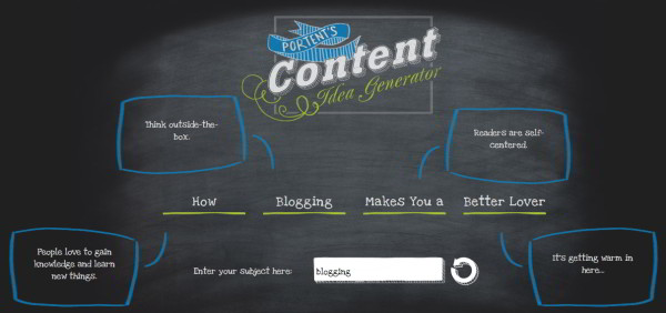 Content idea generator : blogging makes you a better lover