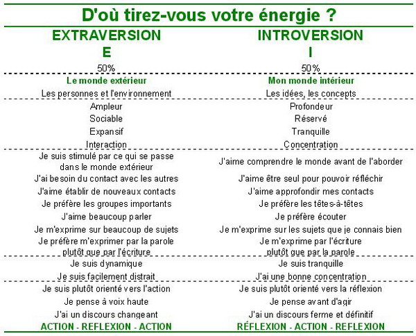 Orientation de l'énergie Extraversion E / Introversion I