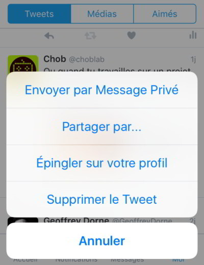 Twitter : supprimer un tweet depuis smartphone