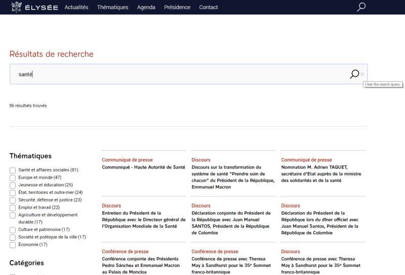 copie écran moteur de recherche site Elysée