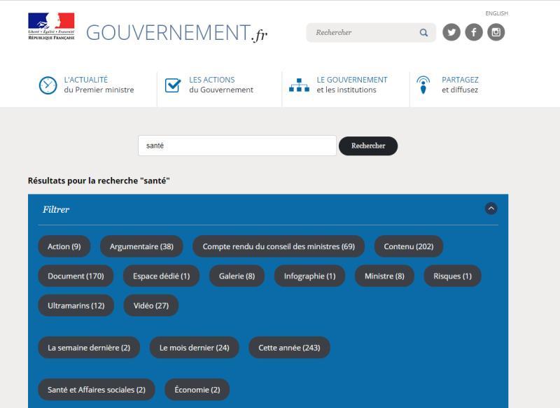 Moteur de recherche site web gouvernement.fr