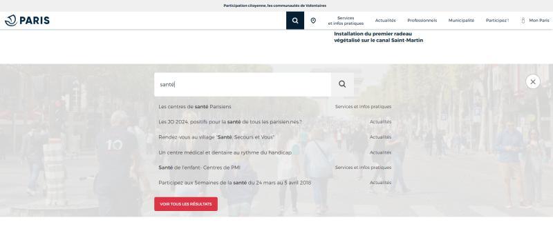 Moteur de recherche site web PARIS.FR