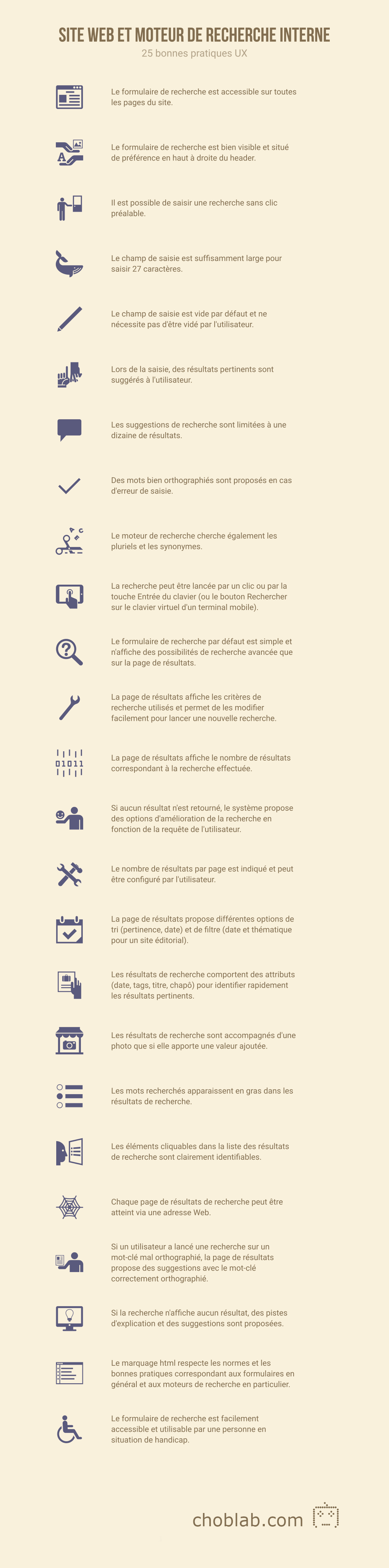 Site web et moteur de recherche interne : checklist des bonnes pratiques #UX infographie