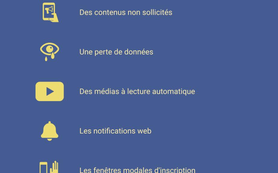 Sites web : 10 frustrations à éliminer - infographie choblab.com #UX