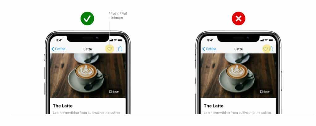 Recommandations Apple sur la taille des boutons : 44 x 44 px